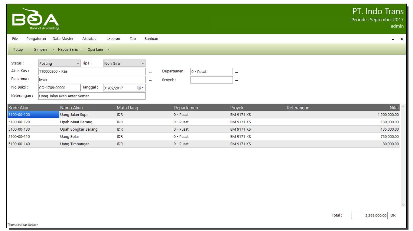 Laporan Keuangan Perusahaan Jasa Angkutan Software Akuntansi