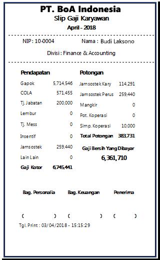 Contoh Slip Gaji Accounting Surat Oo